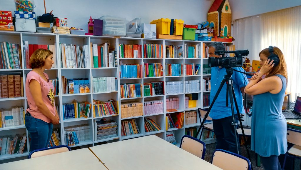 Federico Garcia Lorca school in Valencia. Recording an interview to Pilar Ponce, School Director